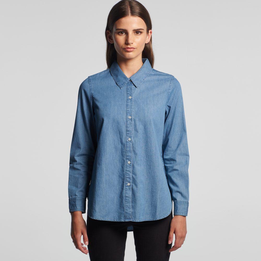 4042 WOMENS BLUE DENIM SHIRT